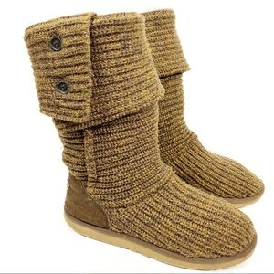 UGG Classic Cardy-Button Brown Knit Boot Sz 8